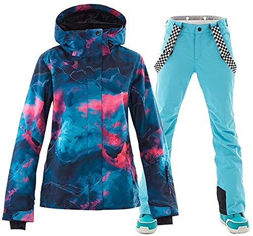 Damen 2 Teilig Skianzug Wasserdicht Schneeanzug Jacke und Hosen Skiset SunFlower6666 (Blue, X-Large)