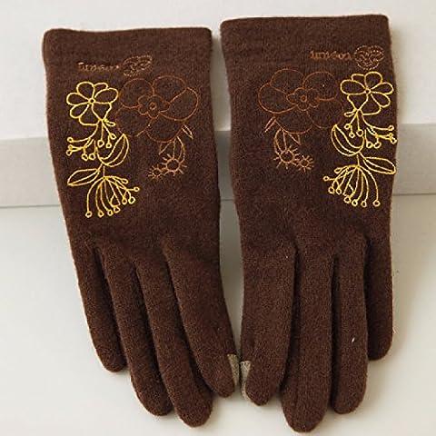 KHSKX Autunno e Inverno archetto flessibile a maglia di lana guanti di protezione termica per il touch screen guanti ladies,D