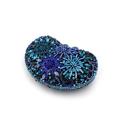 Sacchetto Da Sera In Cristallo Blu Di Alta Qualità Con Diamanti Blu Di Lusso Per Donna