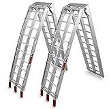 2x Auffahrrampe Verladerampe Quadrampe KFZ-Rampe Klappbar Alu bis 340Kg Traglast gegittert
