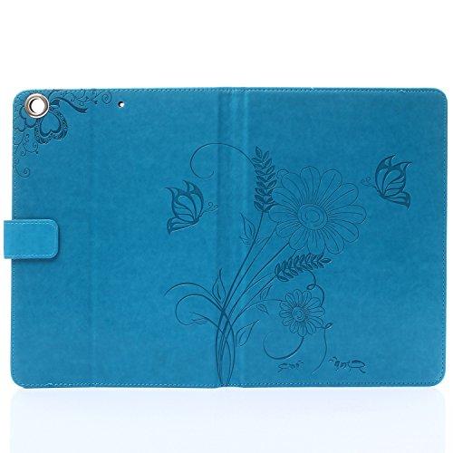 MOONCASE iPhone 6S Plus Custodia in pelle Protettiva Flip Cover per iPhone 6 Plus / 6S Plus 5.5 Fiore Snap-on Magnetico Bookstyle TPU Case Viola chiaro Blu