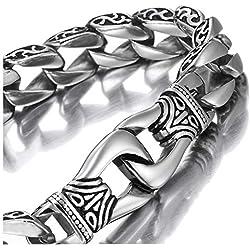 enlace de los hombres de acero inoxidable increíble pulsera de plata Negro 23cm (con la caja de regalo de marca)
