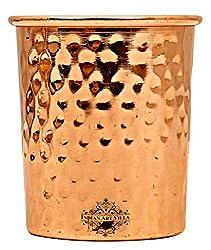 IndianArtVilla Hammered Copper Glass Tumbler, Drinkware & Tableware, Yoga Ayurveda, 250 ML