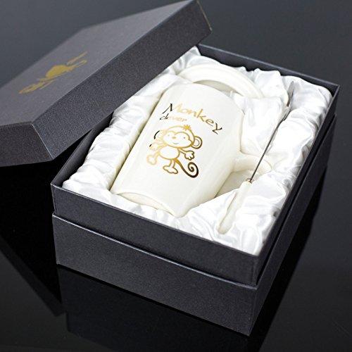 Good quality cup Kreative Keramik Becher Sternzeichen Tassen mit Deckel Löffel Geschenkbox Büro Tasse personalisierte Kaffeetasse Milch Tasse, weiße Affe Geschenkbox (Milch Affe)