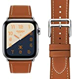 MroTech kompatibel mit Watch Band 44mm 42mm Armband Leder braun Echtleder Ersatzarmband Uhrenarmband...