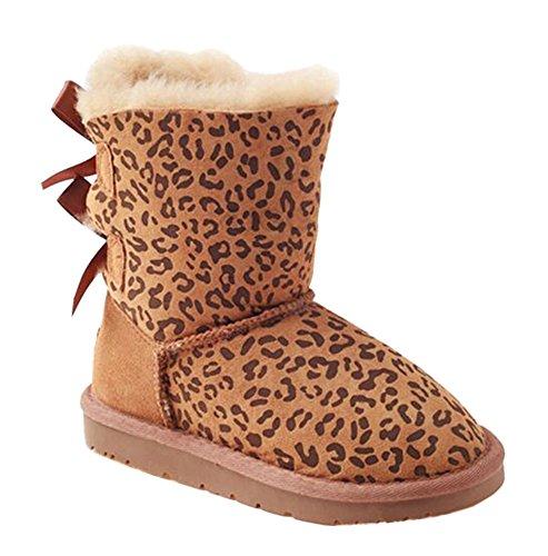 OZwear UGG Doppel Bowknots Kinder Mid-Rohr Schneeschuhe Kastanieleopard (US Little Kid 11M/12M)(UK 10/11)(AU 11/12)(EU 28) - Für Kleinkinder Stiefel Uggs