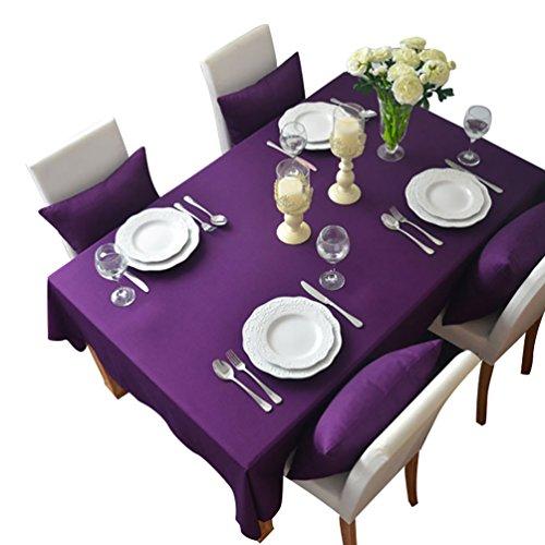 NiSeng Nappe de Table Polyester Rectangulaire Carrée - Nappes Anti Taches/Nappe Decoration pour Mariage, Cuisine d Exterieur Violet 140x250 cm