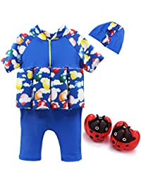 Vine Bebé Trajes de baño Flotador Traje 3 piezas Beachwear Camisetas Bañadores con tapa bañador,