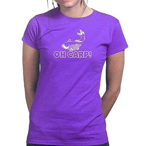 Womens Oh Cr*p Carp Funny Fishing Reel Bait Ladies T Shirt (Tee, Top) Purple