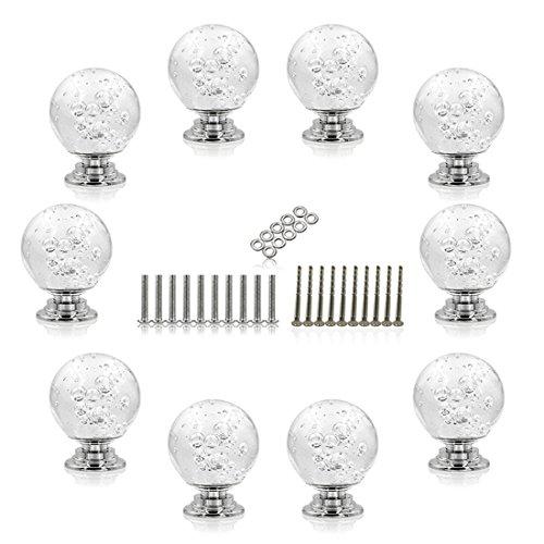 Likecom 10Pcs Crystal Bubble Kugelgriff Tür-Fach-Knöpfe für Dresser Kitchen Cabinet Pulls Schrank Griffe -Weiß