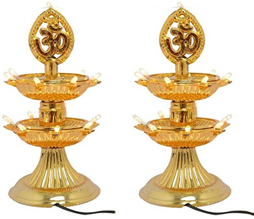 Elligator 2 Layer 14 LED Golden OM Design Electric Diya Decorative Lamp for all festival (Set Of 2)  available at amazon for Rs.299