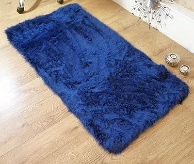 Navy Blue Faux Fur Sheepskin Style Rug - inexpensive UK light shop.