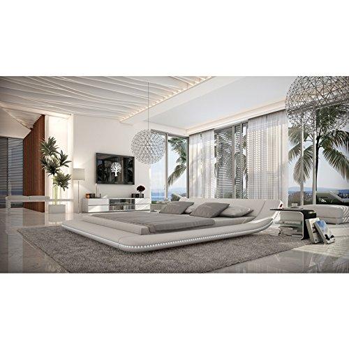 SalesFever Polster-Bett 200x200 cm weiß aus Kunstleder mit Blauer LED-Beleuchtung | Otsuc | Das Kunst-Leder-Bett ist EIN edles Designer-Bett | Doppel-Bett 140 cm x 200 cm in Leder-Optik, Made in EU