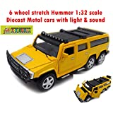 Toy-Station - Die CAST Metal Play Set - Perfect Toy Set For Kids (6 Wheel Stretch Hummer CAR 1:32 Scale Diecast Metal With Light & Sound - Yellow)