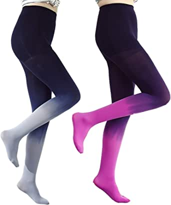 ANDIBEIQI 2 Pair Calze Collant Pantyhose 120D Calze in Velluto Colore sfumato