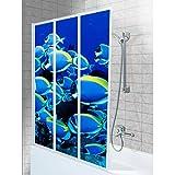 SHIRT-TO-GO 3-teiliges Aufkleber-Set für Duschwand Duschwand Aufkleber - Motiv Unterwasserwelt