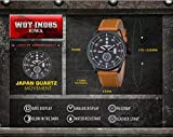 INFANTRY® Herren Analoges Quarzwerk Armbanduhr Datum Sport Braun Leder Band World of Tanks - 2