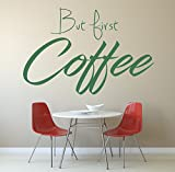 'But First Coffee' Citation, autocollant de mur d'art de vinyle, mural, décalque....