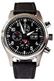 Reloj de aviador Parnis 9042 cronógrafo miyota 42 mm acero inoxidable pulsera de cuero textil