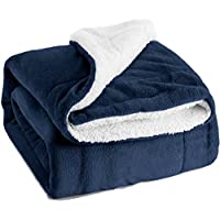 Sherpa Throw Blanket Navy Blue Travel/Single Size (130 x 150cm) Fleece Bed Throws Warm Reversible Microfiber Solid Blankets for Bed and Couch by Bedsure