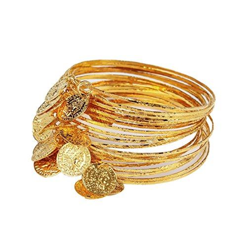 JEANSWSB Metall Zigeuner Bauchtanz Armband Goldmünzen (Bauchtänzerin Gold Und Kostüme Schwarz)