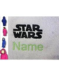 Albornoz infantil con capucha con un Star Wars Logo y nombre de tu elección en Royal Blue. A partir de 2, 4, 6, 8, 10o 12, azul real, 10 años