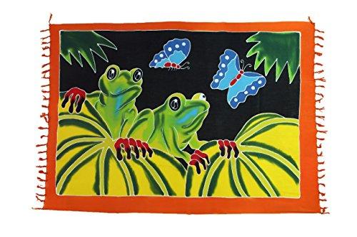 Riesen Auswahl - Alle Farben - Original Ciffre Sarong Strandtuch Wickelrock hochwertiger Strandtücher aus Bali Indonesien - Viele Farben - Pareo Designy by EL-Vertriebs GmbH SJ3 Frosch und Schmetterling