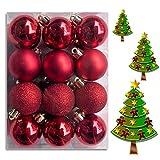 (WKG04) Weihnachtskugeln Christbaumkugeln Baumschmuck Weihnachtsbaumschmuck Deko 24er 60mm (Rot)