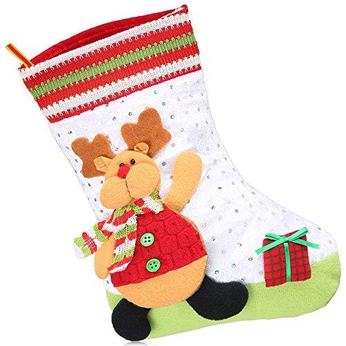 CRAVOG 3 Types Weihnachtsgeschenk Beutel Plüsch Schneemann Sankt Ren Weihnachtssocken -