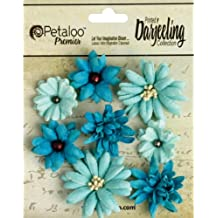 Papel de Petaloo Darjeeling tearstained Mini Mix Flores) para X 3,8X 3,8cm, color azul