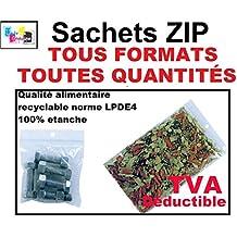 SACHET ZIP: TOUS LES FORMATS - TOUTES QUANTITÉS : 26 formats différents (de la pochette zip la plus petite 40 x 60 mm aux plus grands sacs zip 400 x 400 mm). LOT DE 10, 50, 100, 500, 1000, 3000, 5000 ou 10.000 ex (disponible selon le format). Sac plastique zip compatible alimentaire, congélation et prélèvement de marque UNIVERS GRAPHIQUE - Facture avec T.V.A déductible