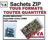SACHET ZIP: TOUS LES FORMATS - TOUTES QUANTITÉS : 26 formats différents (de la pochette zip la plus petite 40 x 60 mm aux plus grands sacs zip 400 x 400 mm). LOT DE 10, 50, 100, 500, 1000, 3000, 5000 ou 10.000 ex (disponible selon le format). Sac plastiq