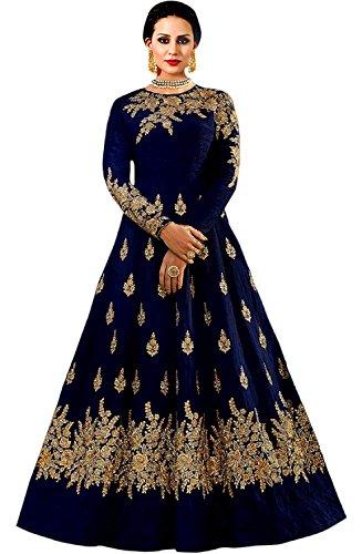Salwar Style Women\'s Gown (Bh2135_Navy Blue_Free Size)