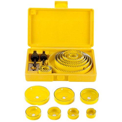 Witasm 13 pezzi seghe a tazza in acciaio cromato di alta qualità seghe a tazza set per tagliare legno, cartongesso, lamiera, plastica, vetroresina, 19mm - 127mm drill hole saw