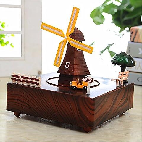 Festival et cadeau d'anniversaire Mécanisme musical Musique classique Moulin à vent Boite de musique Chalet Waterwheel Clockwork Décorations Rotate Music Box, Windmill, 15 * 15 * 14Cm