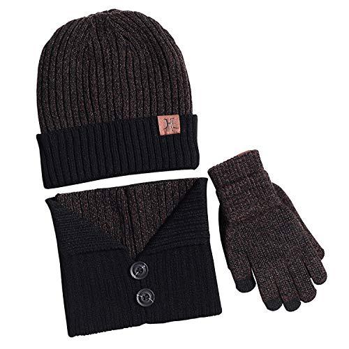 Bequemer Laden Wintermütze Herren Warm Strickmütze Schal und Touchscreen Handschuhe, 3 teilige, Braun, Einheitsgröße