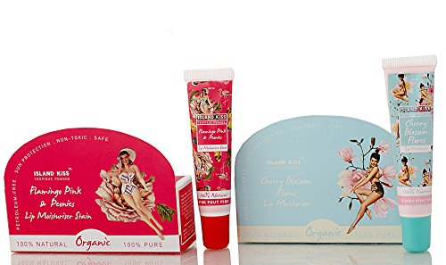 Island Kiss, Organic Lip Balm Combo -Two Smack With Spf 15, Flamingo Pink & Peonies (14 Gms) + Cherry Blossom Flores (14 Gms)