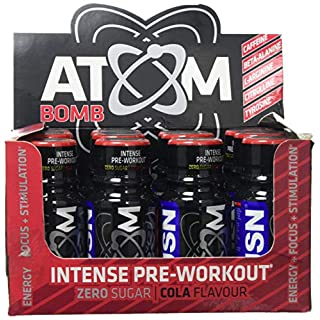 USN Atom Bomb Intense Pre-Workout Cola Flavour Shots, 12-Count, 60 ml