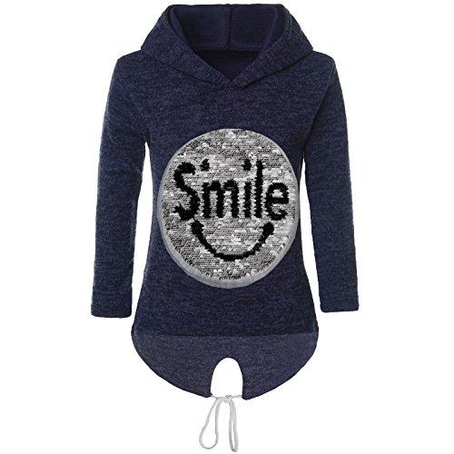 BEZLIT Mädchen Kapuzen Pullover Pulli Wende-Pailletten Sweatshirt Hoodie 21544 Blau Größe 116