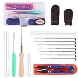 Kit di aghi per la lavorazione del feltro, per principianti, kit di aghi, forbici, colla, per realizzazioni artigianali in feltro, con pratica valigetta, in colore casuale