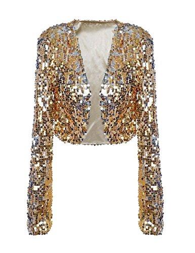 Kayamiya Damen Pailletten Jacke Langarm Sparkly Cropped Shrug Clubwear M Gold