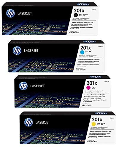 4x Original XL HP Toner CF400X CF403X 201X für HP Color Laserjet Pro MFP 277 DW - Black, Cyan, Magenta, Yellow - Leistung: BK ca. 2800 Seiten / Farben ca. 2300 Seiten/5% (Hp Color Laserjet Black Toner)