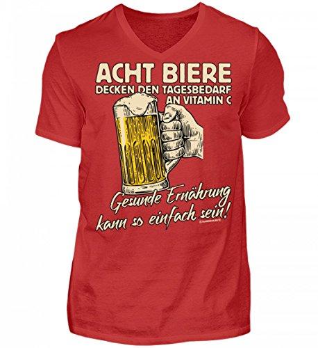 Shirtee Hochwertiges Herren V-Neck Shirt - Acht Bier Tagesbedarf - Das Lustige Geschenk für Bier-Fans - Original Tees-Paradise® Rot