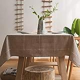 Plenmor - Tovaglia resistente in cotone e lino, per tavoli rettangolari, a tinta unita, con ricami in reticolo, decorazione per tavolo da pranzo, Lino Cotone, lino., 135x300 cm