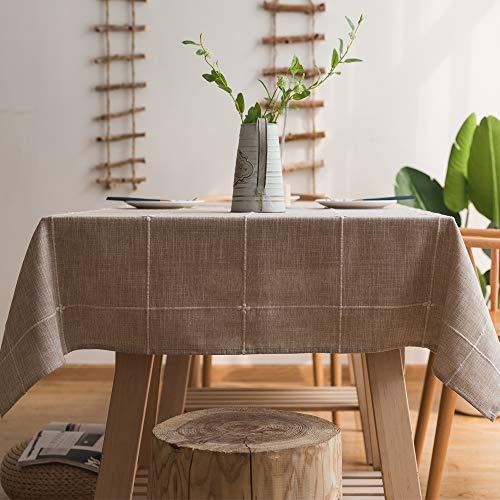 Plenmor - tovaglia resistente in cotone e lino, per tavoli rettangolari e ricami in reticolo, decorazione per tavolo da pranzo, linen, 135x300 cm