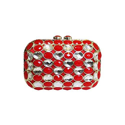 Anna Cecere Italienisch Entwickelt Gioello Jewel Clutch Abendtasche - rot (Grün Handtasche Jeweled)