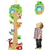 Unbekannt 3-D Meßlatte aus Holz -  Baum - lustige Eule & Tiere  - incl. Name - zum Klappen / Falten - von 80 cm bis 155 cm - Messlatte Kinderzimmer für Kinder Kind - ..
