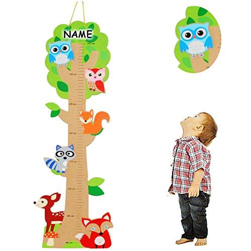 alles-meine.de GmbH 3-D Meßlatte aus Holz -  Baum - lustige Eule & Tiere  - incl. Name - zum Klappen / Falten - von 80 cm bis 155 cm - Messlatte Kinderzimmer für Kinder Kind - ..