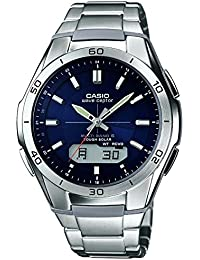 casio watches shop amazon uk casio men s wvam640d 2aer quartz watch blue dial analogue digital display and silver stainless steel bracelet