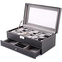 Amzdeal 12 Présentoir/Coffret/Boîte à montre Coffret en Cuir Boîte bijoux Cadeau pour homme (12 compartiments - Noir)